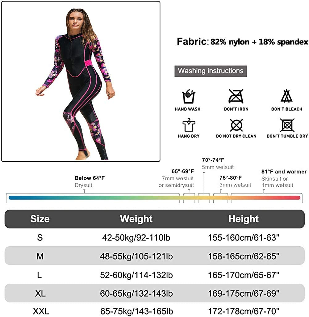 Full Body Wetsuit One Piece Swimsuit Floral Print Long Sleeve Rashguard Sun Protection Swimwear Swimsuit for Women,A,S