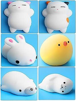 6Pcs Mini Kawaii suave Cat pollo cierre elástico Squishy juguete ...