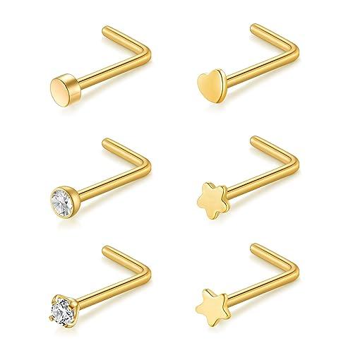 Amazon.com: Briana Williams anillos de nariz forma de L ...