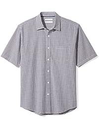 3c136fa1 Men's Regular-Fit Short-Sleeve Plaid Casual Poplin Shirt