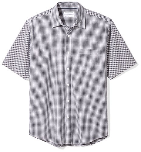 Amazon Essentials Men's Regular-Fit Short-Sleeve Casual Poplin Shirt, black gingham, Medium