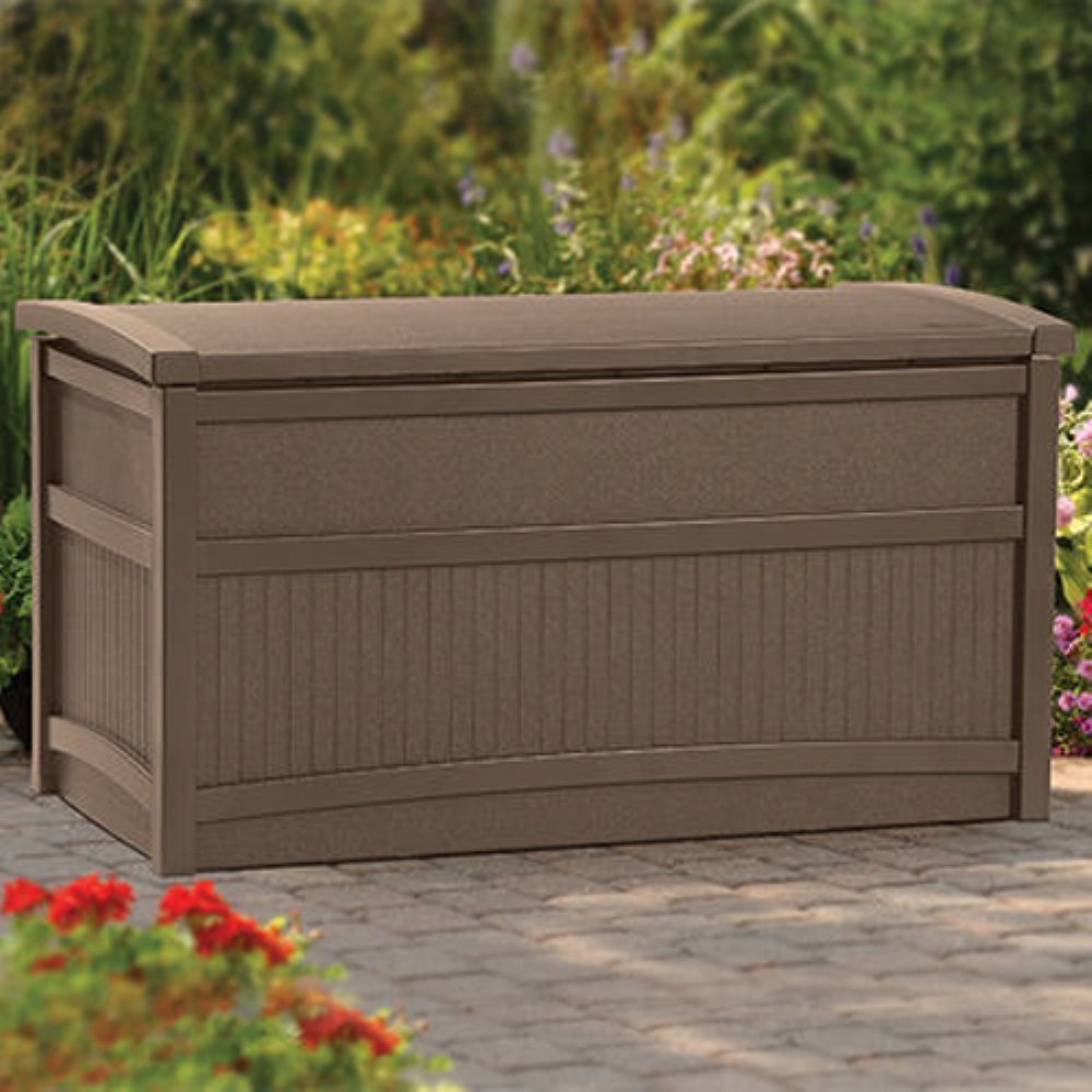 Hot Seller Most Popular 50-Gallon Water Weather Resistant Solid Mocha Resin Pool Deck Dock Boating Storage Box Bin- Slatted Designed With Deep Spacious Storage Area- Perfect For Tools Toys Towels More