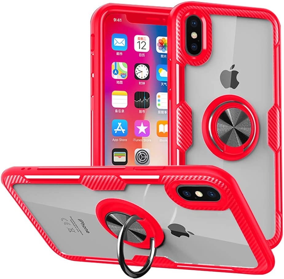 Umhlaba Xmaxs Case Compatible with Apple iPhone Xs Max Phone Cover Kickstand Transparent Thin Ring Holder Soft Silicone Shell Protective Cases IP Iph Xphone Xmax 10max Bumper Skin 6.5 Inch(Red)