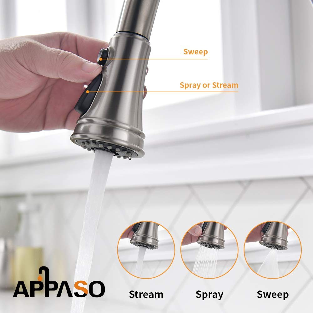 APPASO Pull Down Kitchen Faucet with Magnetic Docking Sprayer, Stainless Steel Brushed Nickel Single Handle Commercial High Arc Single Hole Pull Out Kitchen Sink Faucets with Deck Plate by APPASO (Image #4)