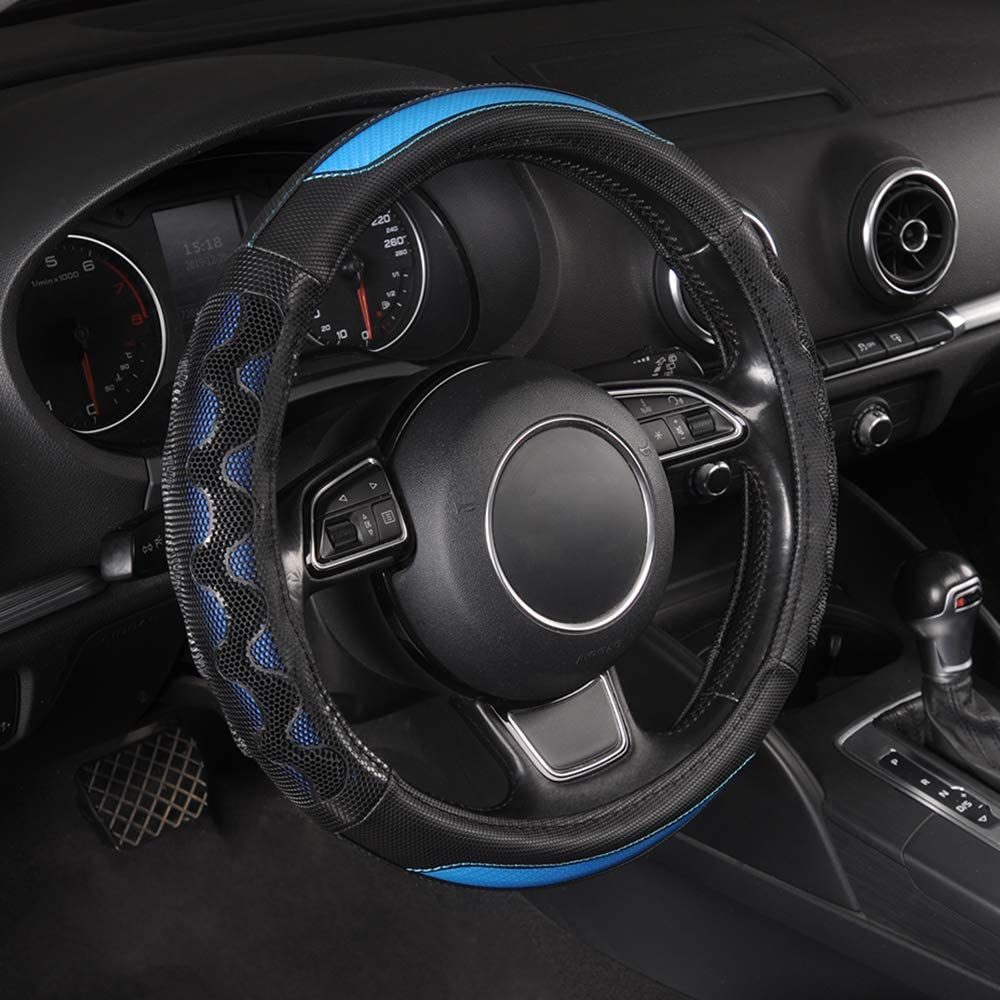 TOYOUN Car Steering Wheel Cover Pu Leather Universal Fit 14.5 to15 inch PE Gel Massage Side Sport Grip Honeycomb Design Breathable Antiskid Sporty Racing Style Auto Steering Wheel Cover, Blue