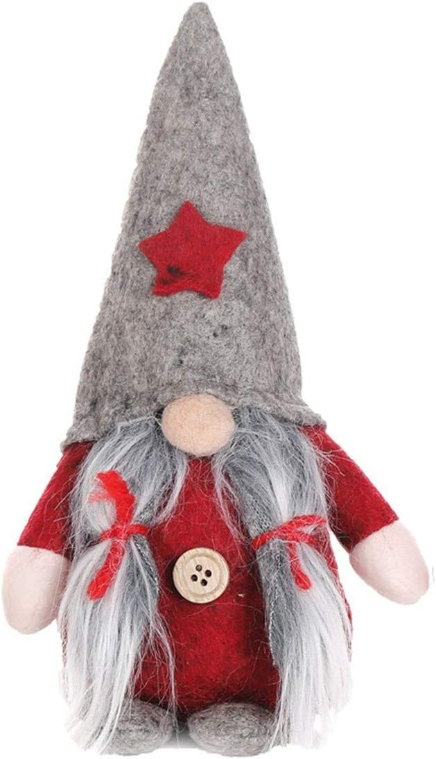 gelvs Cute Sitting Tomte Dwarfs Xmas Gnome Doll with Grey Hat Long Beard for Home Decoration