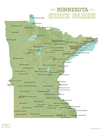image relating to Printable Maps of Minnesota identified as Great Maps At any time Minnesota Region Parks Map 11x14 Print (Environmentally friendly White)