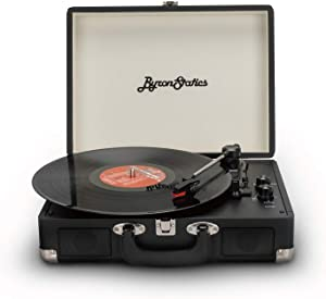 Byron Statics Vinyl Record Player, 3 Speed Turntable Bluetooth Record Player with 2 Built in Stereo Speakers, Replacement Needle, Supports RCA Line Out, AUX in, Portable Vintage Suitcase (Black)