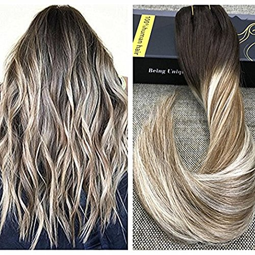 Ugeat 18inch Salon Quality Silky Straight Clip in Human Hair Extensions Balayage Color #2 Fading to #8 Mixed with #60 Platinum Blonde Dip Dyed Color Hair 10Pcs 120Gram