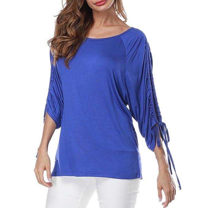 Camisetas sin Mangas para Mujer Media Manga del Vendaje Pure Color Tops Camiseta Suelta Blusa ❤ Manadlian: Amazon.es: Ropa y accesorios