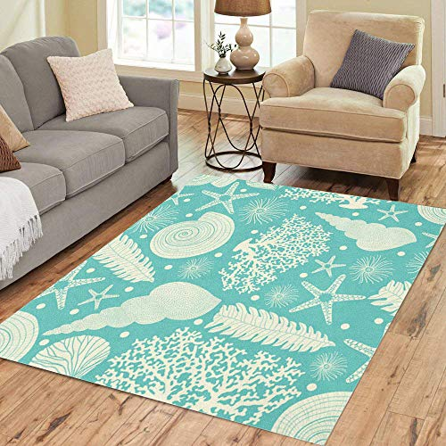 (Semtomn Area Rug 5' X 7' Shell Turquoise of Sea Coral Pattern Starfish Algae Beautiful Home Decor Collection Floor Rugs Carpet for Living Room Bedroom Dining Room)