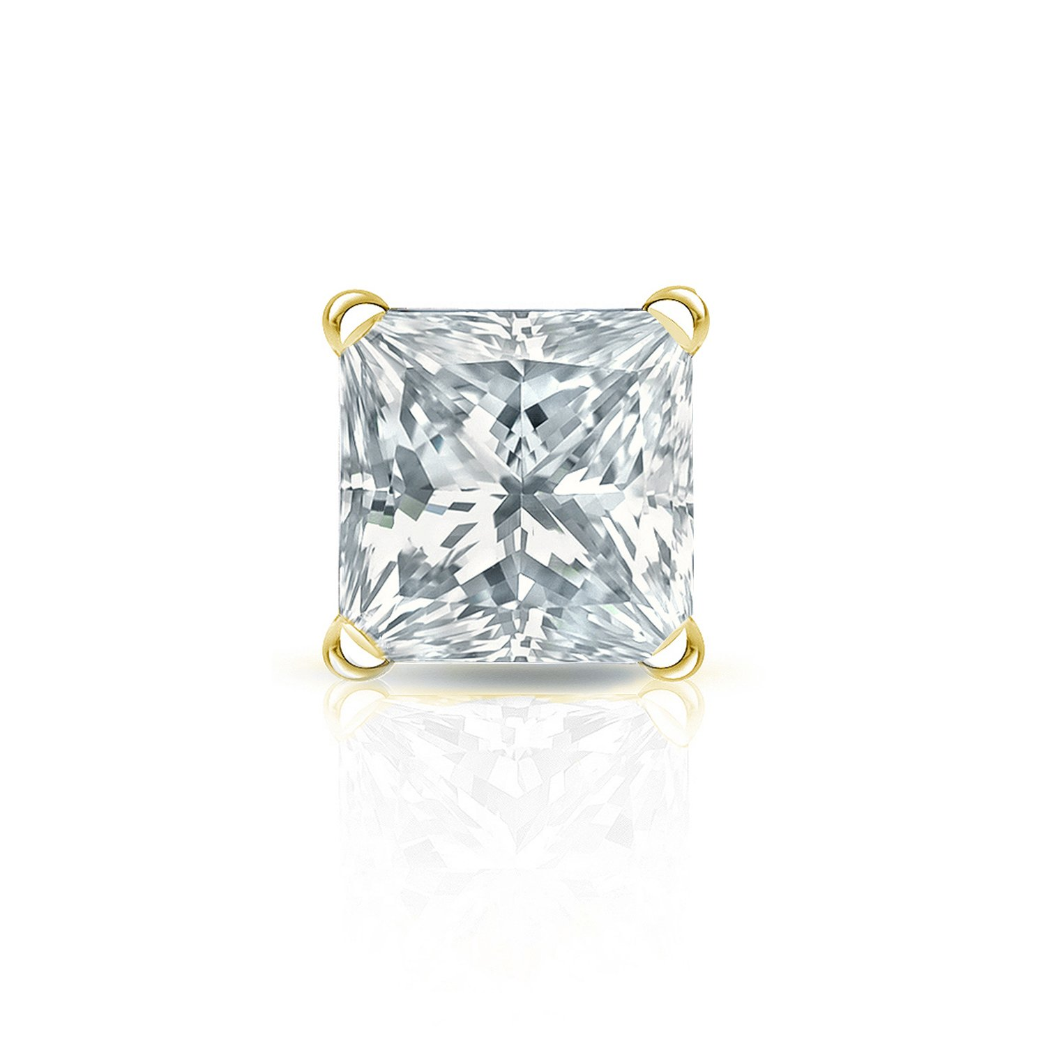 14k Yellow Gold Princess Diamond Simulant CZ SINGLE STUD Earring 4Prong 1//8-1cttw,Excellent Quality