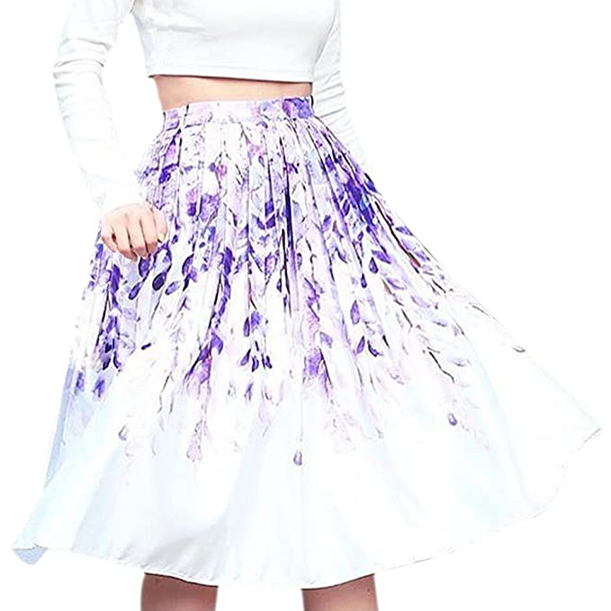 7e5df413c2 Chicwish Women's Divine Wisteria Flower Printed High Waist A-line Midi  Pleated Skirt