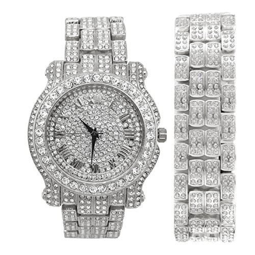 Diamond Silver Tone Watch - Rappers Watch and Matching Bracelet fit for a King!! Mens Hip Hop Iced Out Bling Bling Silver Tone Simulated Diamond Watch & Bracelet Gift Set - L0504B Silver