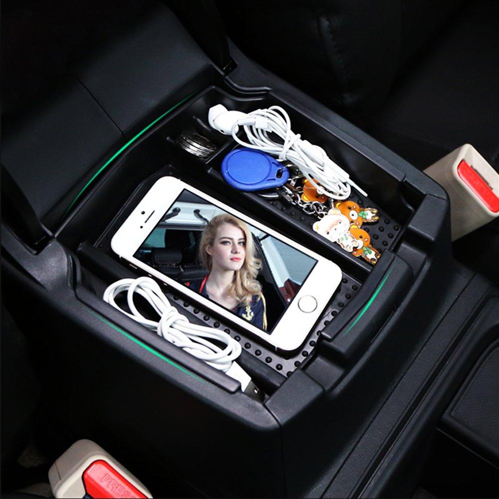 Organizadores para coche Accesorios Popular Center Console Armrest Storage Box Organizer With Non-slip Mat For Honda CRV 2012 2013 2014 2015 Black TOPDECO .
