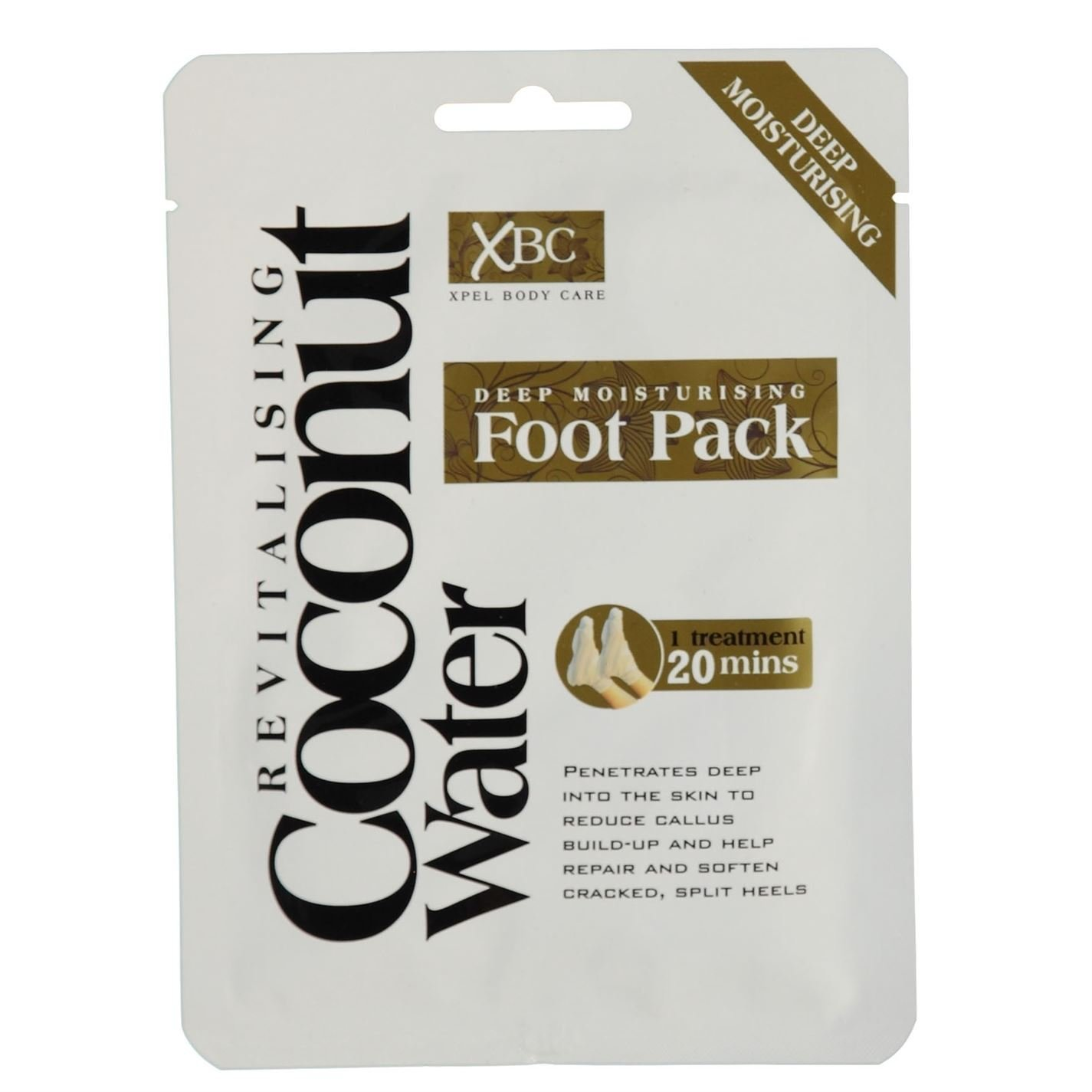 2 x XBC Xpel Body Care Treatment Deep Moisturising Revitalising Coconut Water Foot Pack Xpel Marketing