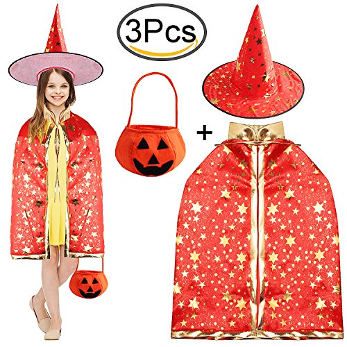 Red Contacts Halloween (Witch Wizard Kids Cloak Cape Hat Sets Halloween Party Costume by Outee, Red)