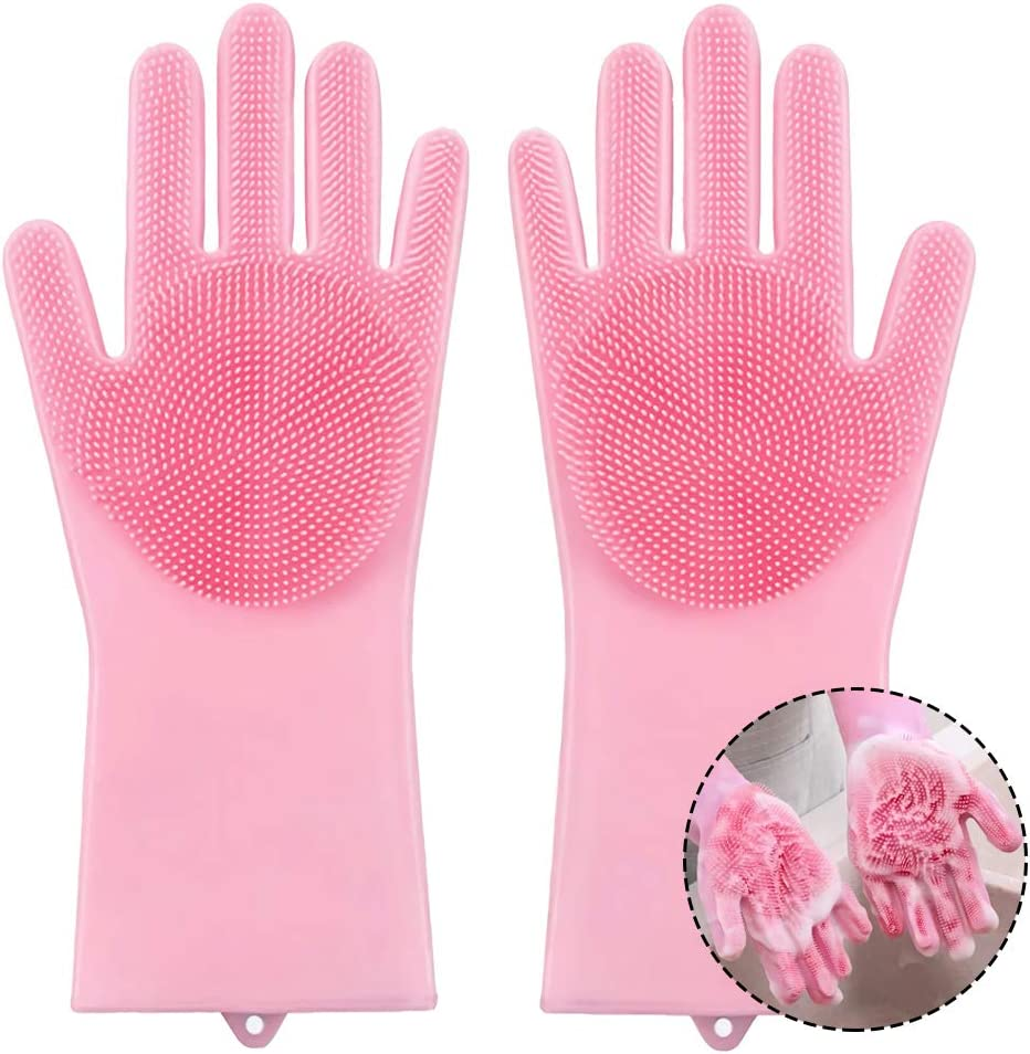 MOCEAN Reusable Silicone Dishwashing Gloves, Pair of Rubber Scrubbing Gloves for Dishes, Wash Cleaning Gloves for Kitchen, Bathroom, Pink