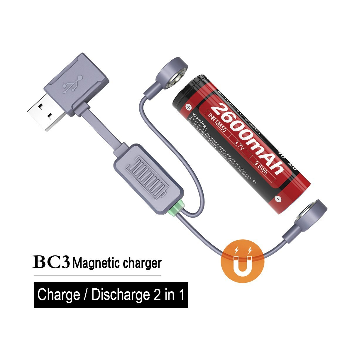 Weltool Magnetic USB Battery Charger for Li-ion Battery - Portable Universal Charger for Travelling, Compatible with 18500 18650 22650 17670 17500 17335 16340 Rechargeable Batteries 71027