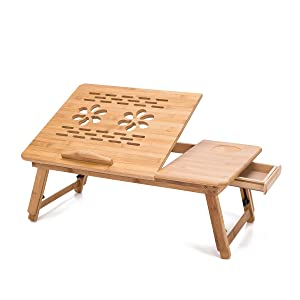 """THY COLLECTIBLES Multi Function Bamboo Lapdesk Table Laptop Stand Breakfast Trays Bed Serving Tray with Adjustable Legs 19 3/4"""" L x 11 3/4"""" W"""