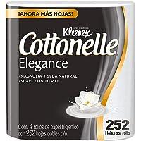 Kleenex Cottonelle Elegance Papel Higiénico, 4 Rollos Con 252 Hojas Dobles