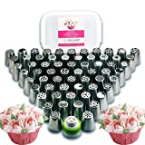 112 Piece Russian Piping Tips Set. - 60 Icing Nozzles (The Most Complete Set on Amazon) + 50 FREE Piping Bags + Coupler + Storage Box - Beautiful Buttercream Flowers for Cake and Cupcake Decoration