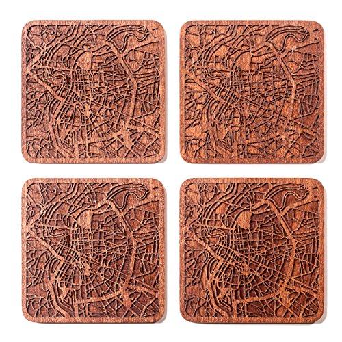 Lyon Map Coaster by O3 Design Studio, Set Of