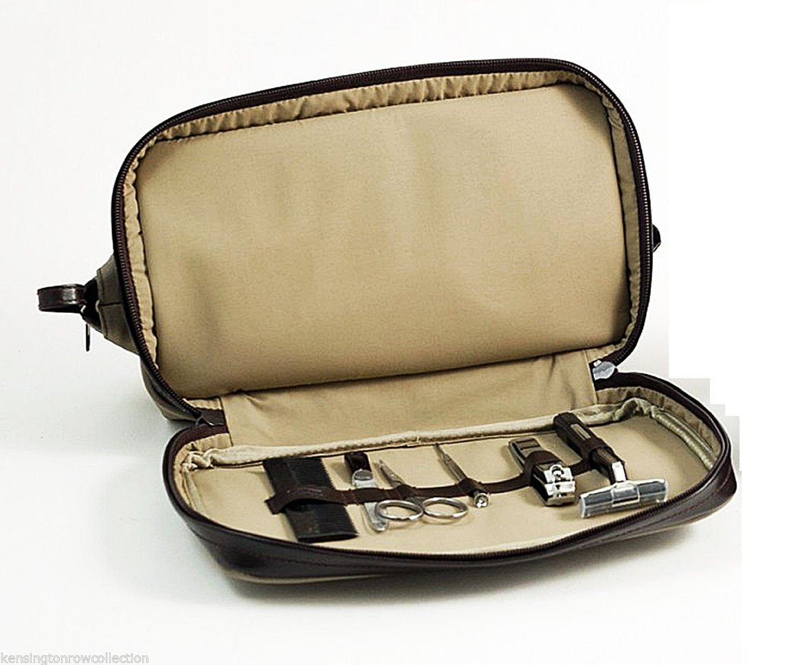 TOILETRY SETS - CAMBRIDGE DOPP KIT W / 6-PC MANICURE & GROOMING SET - ULTRA SUEDE