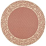 Cheap Safavieh Courtyard Collection CY0727-3707 Red and Natural Indoor/Outdoor Round Area Rug (6'7″ Diameter)