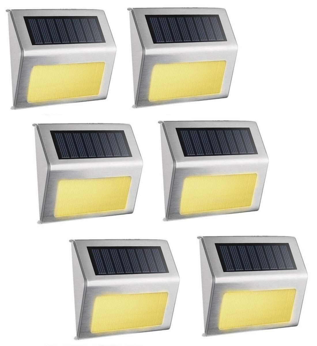Warm White Solar Light, SimPra Outdoor Stainless Steel LED Solar Step Light Illuminates Stairs, Deck, Patio, Etc Warm White 6 Pack