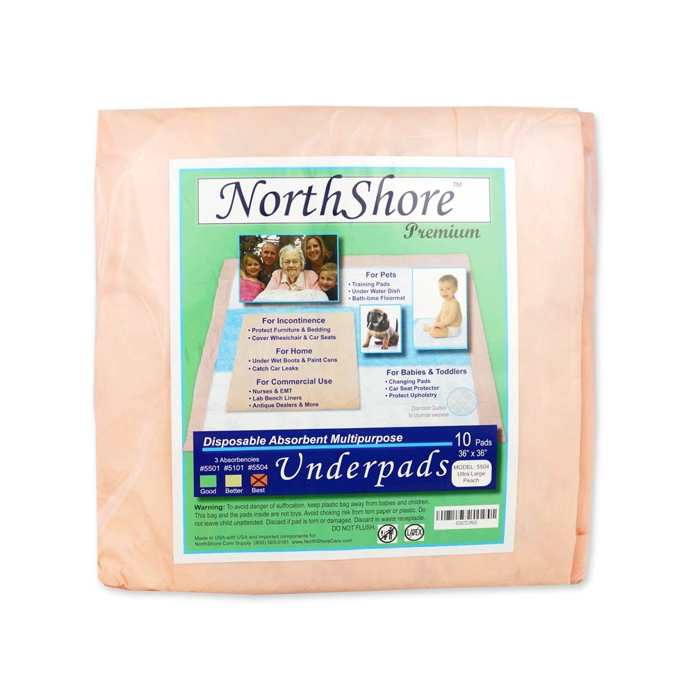 NorthShore Premium, 36 x 36, 65 oz., Peach Super-Absorbent Underpads (Chux), Ultra Large, Pack/10