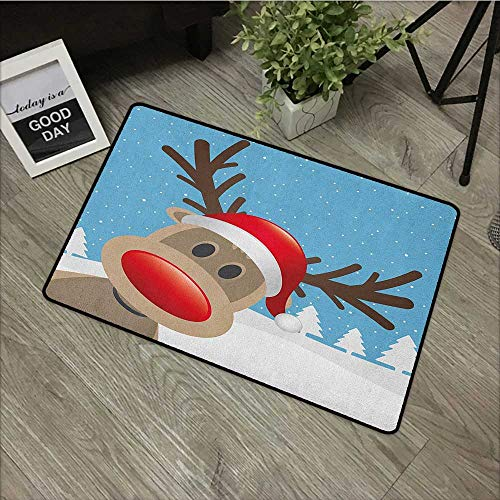 Restaurant mat W16 x L24 INCH Christmas,Reindeer Rudolph with Red Nose and Santa Claus Hat Snowy Forest, Pale Blue Red Pale Brown Non-Slip, with Non-Slip Backing,Non-Slip Door Mat Carpet -