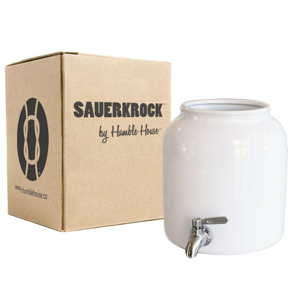 "Humble House Stainless Steel Spigot Kombucha Crock Continuous Brew SAUERKROCK ""Tap'' 5 Liter (1.3 Gallon) Jar (Natural White)"