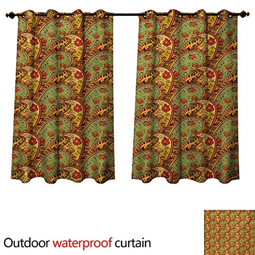 WilliamsDecor Paisley Outdoor Curtain for Patio Persian Folklore Inspirations with Ancestral Timeless Teardrop Motif of Middle East W63 x L63(160cm x 160cm)