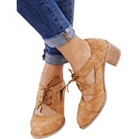 Athlefit Womens Cut Out Ankle Boots Breathable Vintage Oxford Block Heel Pumps