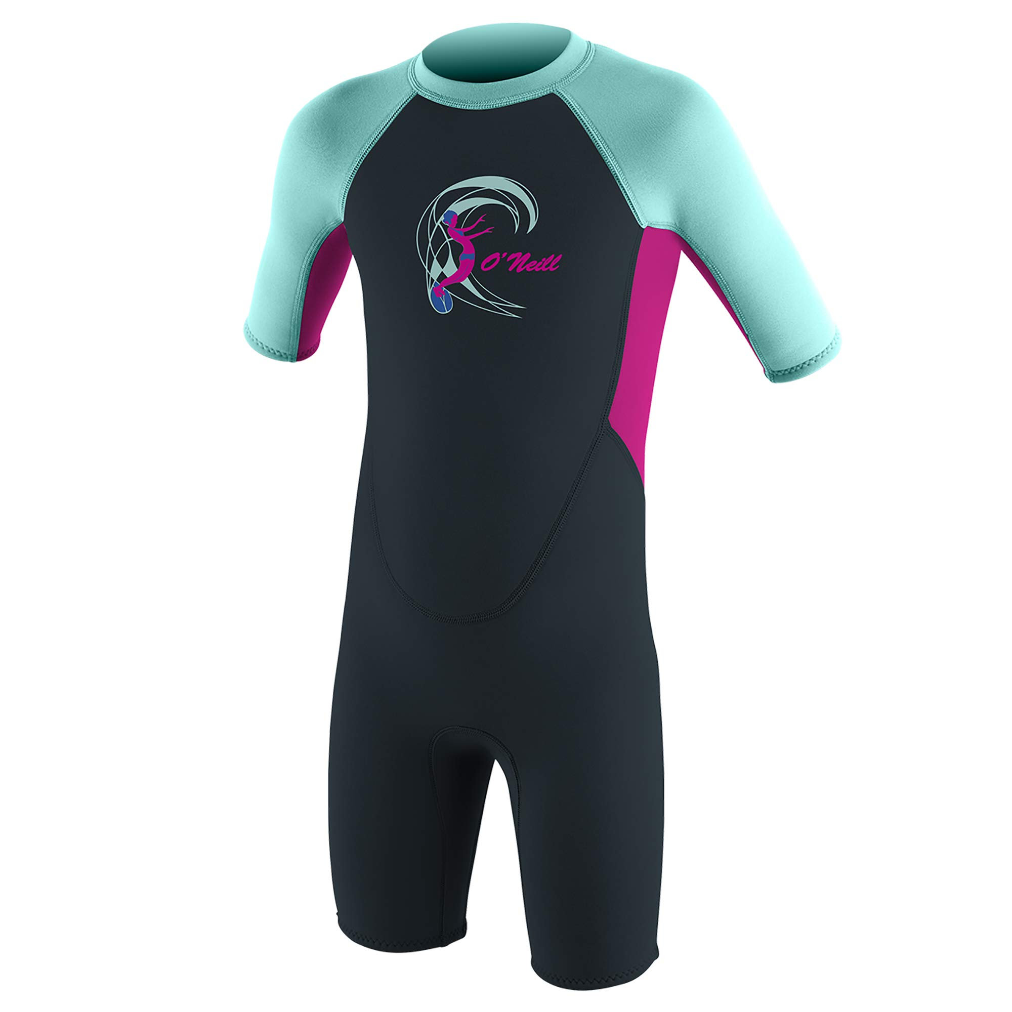 O'Neill Wetsuits Toddler Reactor-2 2mm Back Zip Short Sleeve Spring, Slate/Berry/Seaglass, 2 by O'Neill Wetsuits