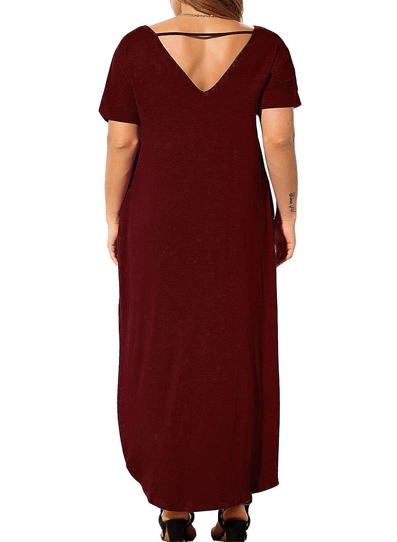 Nemidor Women\'s Casual Loose Pocket Long Dress Short Sleeve Plus Size Slit  Maxi Dress