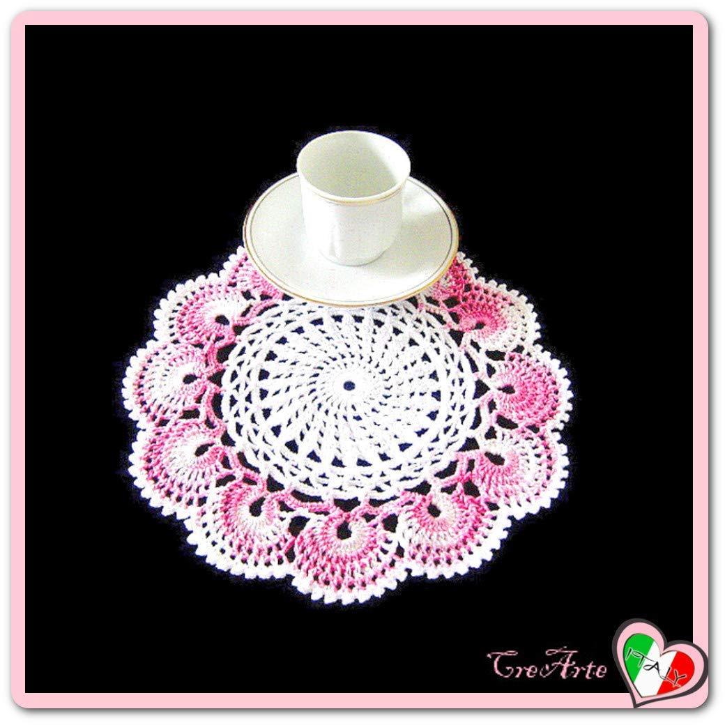 Piccolo centrino rotondo bianco e rosa sfumato all'uncinetto - dimensione ø 22 cm - Handmade - ITALY