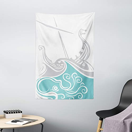 Ambesonne Kraken Tapestry, Viking Longship Sailing into The Waves with Scandinavian Shields Retro Display, Wall Hanging for Bedroom Living Room Dorm Decor, 40 X 60 , Blue Grey