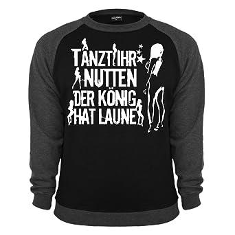 Männer und Herren Pullover Tanzt ihr Nutten der König hat Laune WEISS (mit  Rückendruck): Amazon.de: Bekleidung