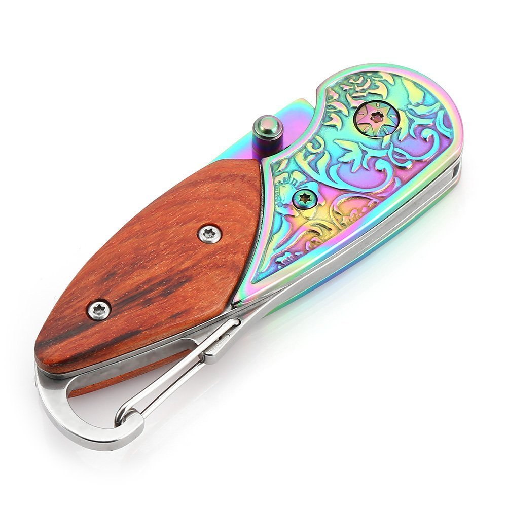 Quality Stainless Steel Rainbow Pocket Knife Wood Handle