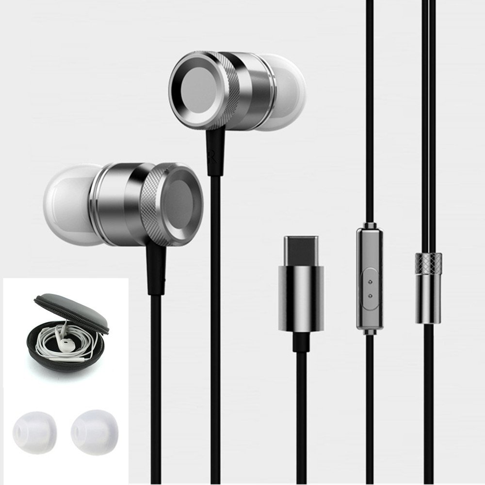 ANTFEES USB Type C Metal Earbud Headsets Headphone Noise Isolating Earphone CDLA HiFi Carrying Case Heavy Bass Stereo with Microphone(Black)