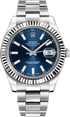 56260b70ae5 Amazon.com: Rolex Oyster Perpetual DateJust II 116334-BLUSFO Blue ...