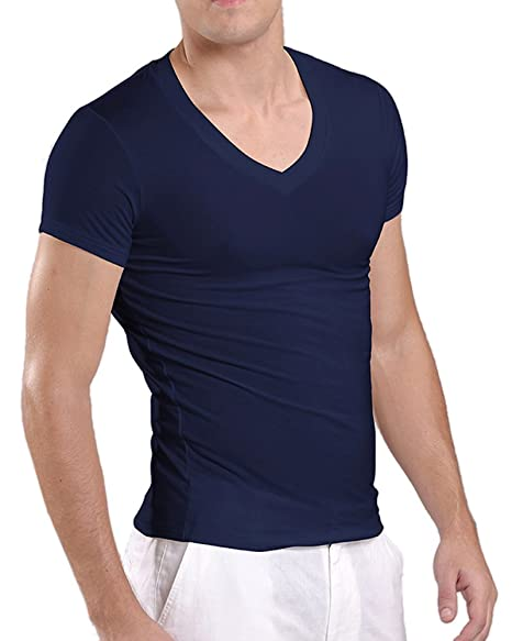 79932174160 Amazon.com  Kalvon-Fu Men s Modal Deep V Neck Short Sleeve T-Shirt ...
