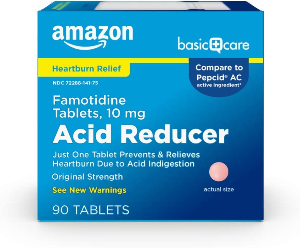 Amazon Basic Care Original Strength Famotidine Tablets, 10 mg, Acid Reducer for Heartburn Relief, 90 Count