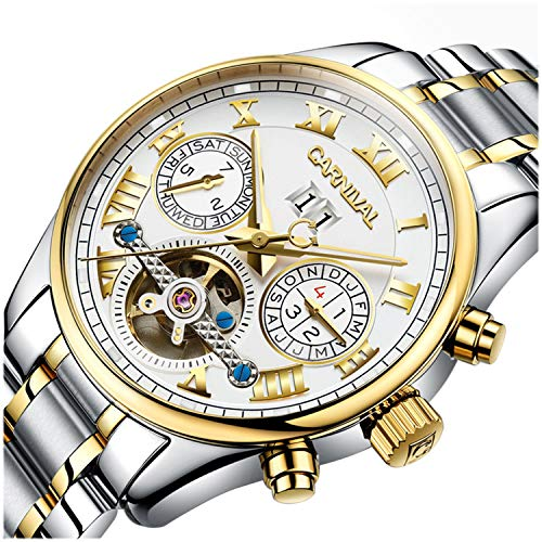 PASOY Carnival Men's Watch Automatic Tourbillon Stainless Stell Date White Dial Skeleton Analog Watches