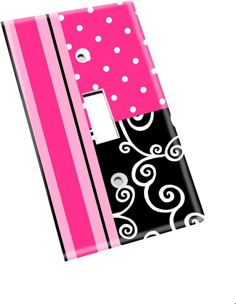 Hot Pink and Black Swirl Girls Nursery Bedroom Light Switch Cover LS0026 Double Decora