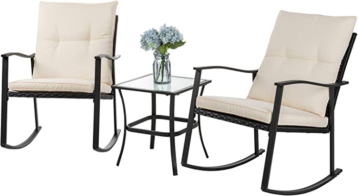 Shintenchi Outdoor 3-Piece Rocking Bistro Set,Wicker Patio Furniture Porch Chairs Conversation Sets with Glass Coffee (Beige Cushion)