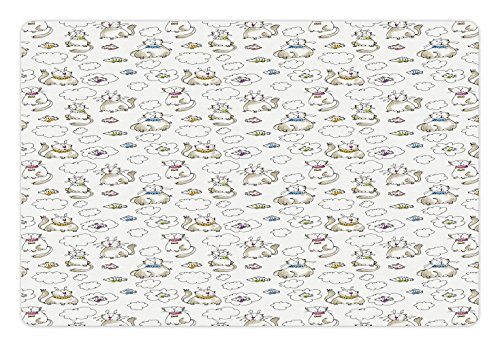 (Lunarable Sketch Pet Mat for Food and Water, Chubby Kitties Above The Puffy Clouds Dreaming of Fish Domestic Pets Craving Food, Rectangle Non-Slip Rubber Mat for Dogs and Cats, Multicolor)
