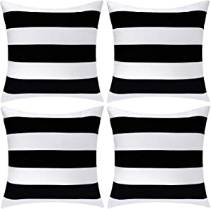 Aneco Pack of 4 Waterproof Pillow Covers Outdoor Throw Pillowcases Square Garden Cushion Case for Home, Garden, Patio,Black,18 x 18 Inches